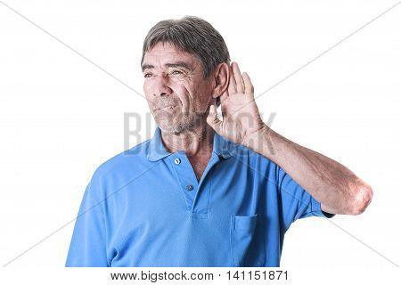 Portrait Of Old Man Placing Hand On The Ear, Hearing Loss
