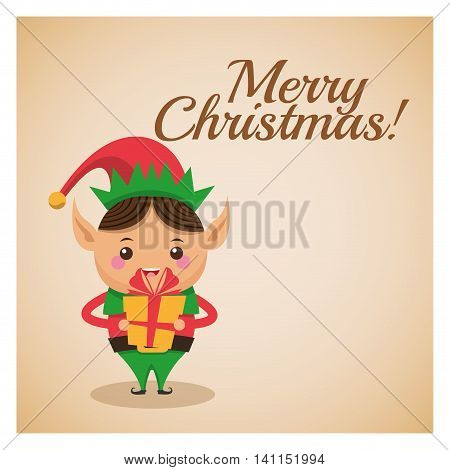 Merry Christmas concept represented by elf cartoon icon over pastel brown background. Colorfull and classic illustration inside frame.