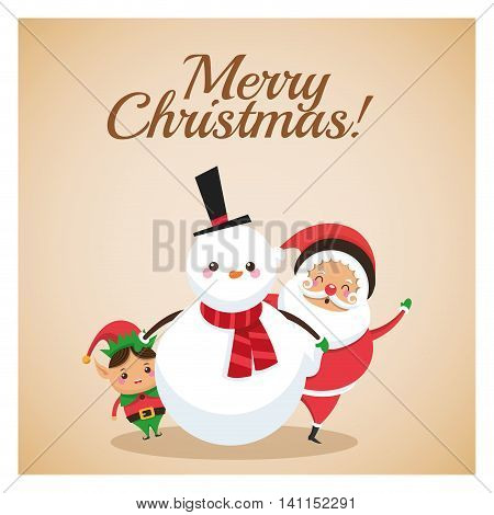Merry Christmas concept represented by snowman elf and santa icon over pastel brown background. Colorfull and classic illustration inside frame.