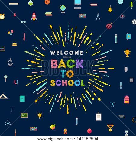 Welcome back to school greeting with multicolored sunburst  a background with school objects and supplies