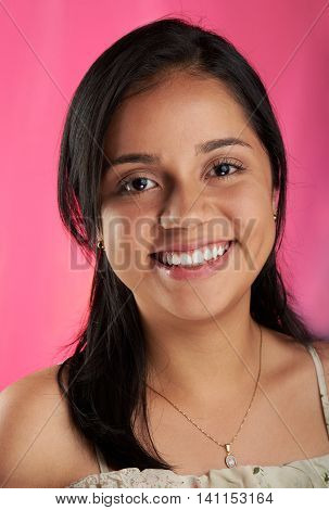 Smily Girl On Pink Background