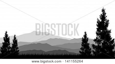 beauty mountain with background pine tree silhouette