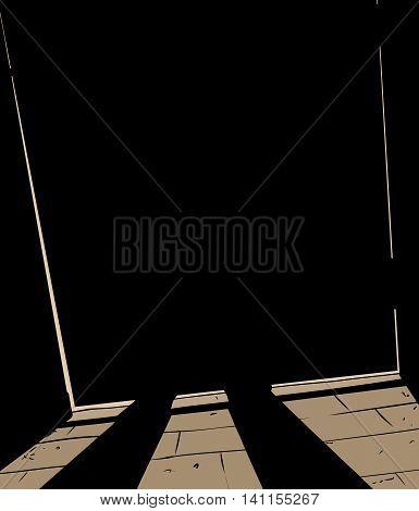 Figure Standing Behind Shut Door