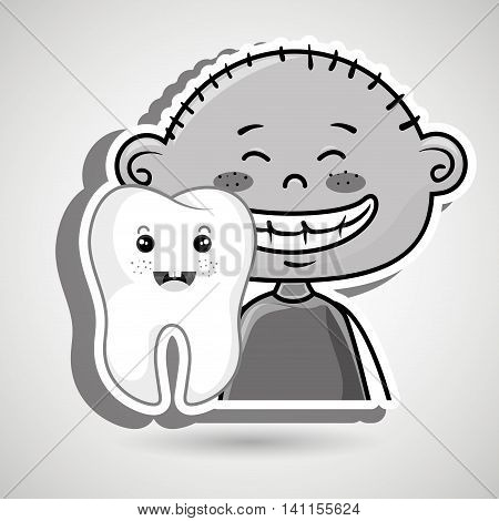 happy  cartoon child smiling with an icon of a smiling tooth over a white background