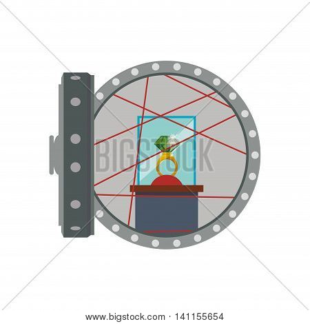 Strongbox ring security money financial item value icon. Isolated and flat illustration. Vector graphic