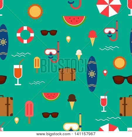 Stock vector summer elements seamless pattern background flat design illustration