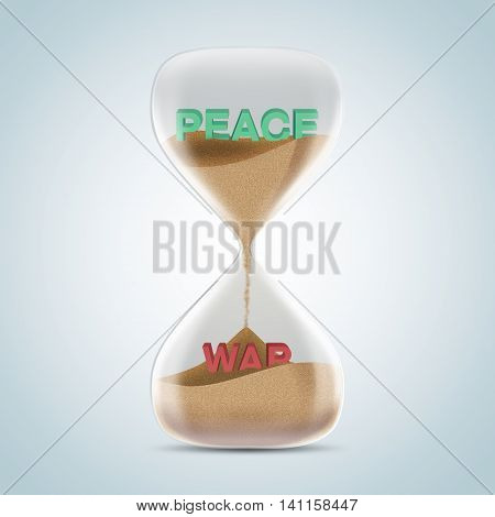Opposite Wording Concept In Hourglass, Peace Revealed After Sands Fall And Covered War Text.