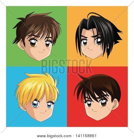 Boy anime male manga cartoon comic icon. Colorfull and frames illustration. Vector graphic