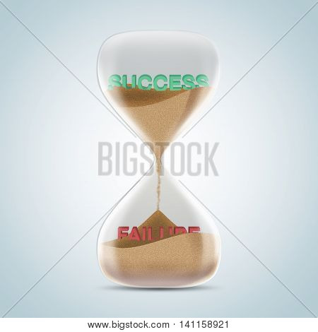 Opposite Wording Concept In Hourglass, Success Revealed After Sands Fall And Covered Failure Text.