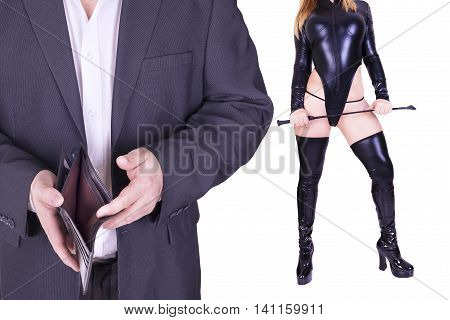 Man and sexy dominatrix holding riding crop isolated on white background.