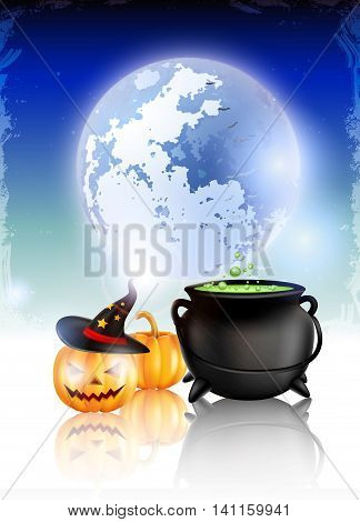 Halloween Background  with pumpkin wearing witch's hat and cauldron