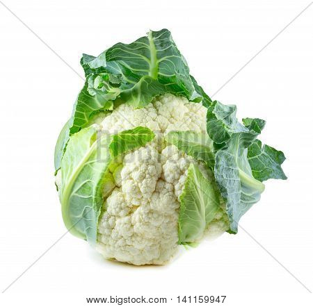 single whole cauliflower isolated on white background.