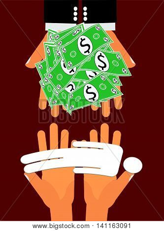 Contract or Proxy Killer - Hands handing large amount of money to another pair of hands giving a dead person in exchange