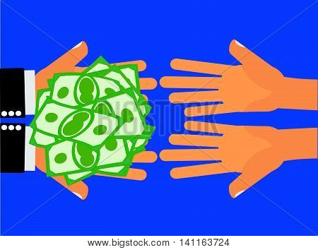 Give Money or Charity for The Poor - Hands handing money or cash to another pair of hands