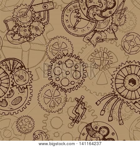 Steampunk seamless background with old cogs and retro mechanisms. Hand drawn repeated illustration with vintage mechanical parts