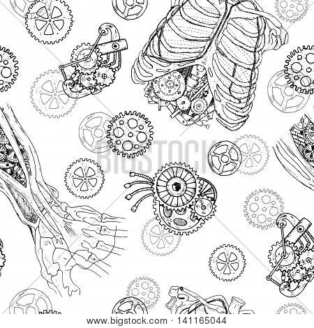 Seamless pattern with robot hand, chest, ribs and old mechanisms.  Hand drawn repeated background with human body and mechanical parts in steampunk style