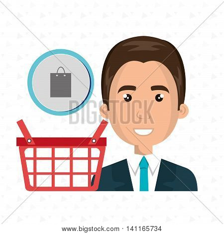 cartoon business man wearing a suit next to a red shopping basket and a shoping bag above over a white background vector illustration