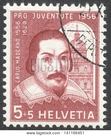 MOSCOW RUSSIA - CIRCA MAY 2016: a post stamp printed in SWITZERLAND shows a portrait of Carlo Maderno the series