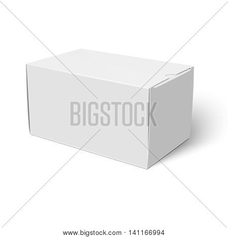 Blank closed cardboard box template lying on white background Packaging collection. Vector illustration.