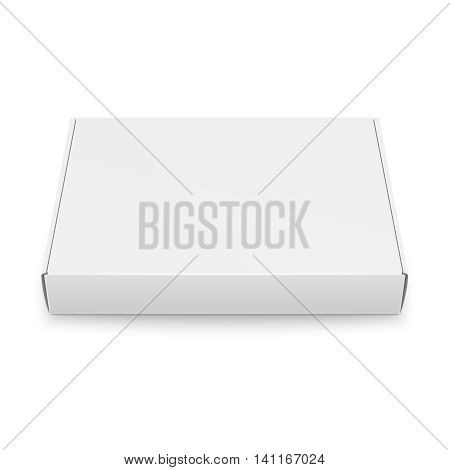 Blank slim cardboard box template lying on white background. Front view. Package collection. Vector Illustration.