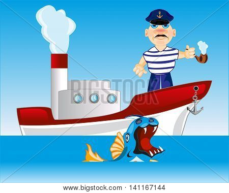 Steamship in open sea and captain smokes tube