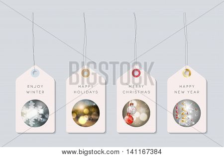 Set of holiday paper tags with pictures on winter christmas and new year theme. Vector illustration.