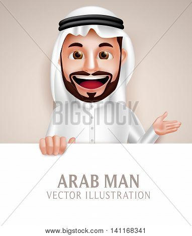 Saudi arab man vector character happy smiling holding white blank board for message and text while talking. Vector illustration.