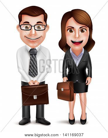 Business man and woman vector characters holding briefcase wearing formal corporate dress isolated in white background. Vector illustration.
