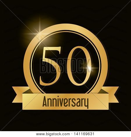 Celebrating Anniversary concept represented by 50 year number icon with ribbon. Gold and flat illustration.