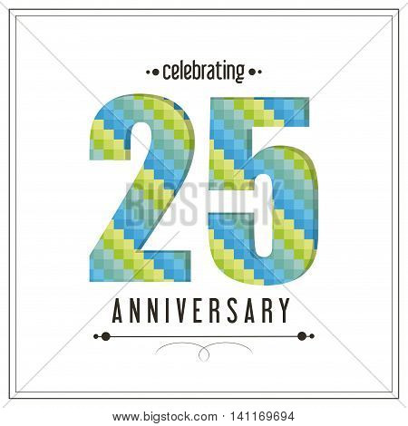 Celebrating Anniversary concept represented by 25 year number icon. Colorfull and flat illustration.