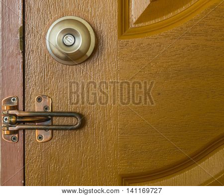 Door Knob and latch on Wood Door