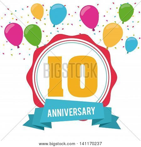 Celebrating Anniversary concept represented by 10 year number icon over seal stamp. Colorfull and flat illustration.