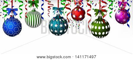 Set of colorful Christmas balls hinging with ribbon