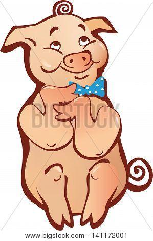 sitting pink happy smiling cartoon pig simple
