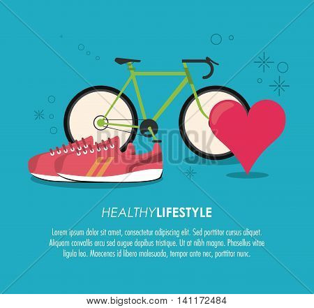 Healthy lifestyle concept represented by bike shoes and heart pulse icon. Colorfull and flat illustration.