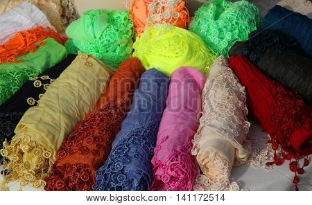 scarves and shawls embroidered with colored border