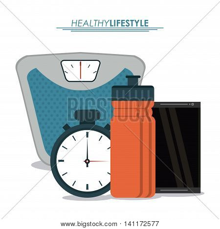Healthy lifestyle concept represented by weight chronometer smartphone and bottle icon. Colorfull and flat illustration.