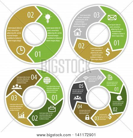 Set of round infographic diagram with arrows. Circles of 2, 3, 4, 6 elements. Vector EPS10