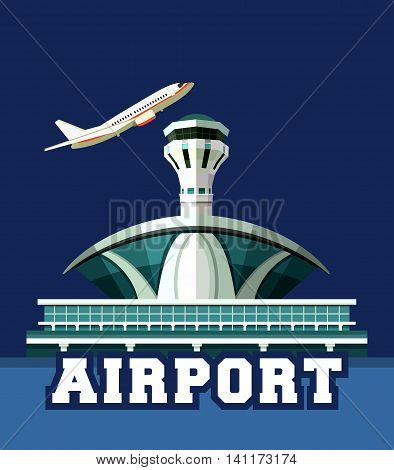 vector illustration poster plane taking off the airport building retro poster