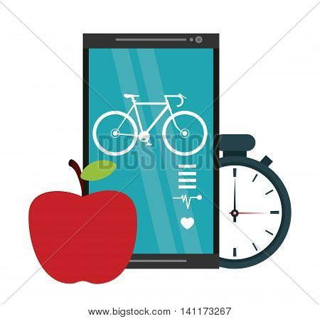Healthy lifestyle concept represented by smartphone apple chronometer icon. Colorfull and flat illustration.