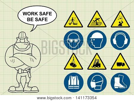 Construction manufacturing and engineering health and safety related icon collection and builder with work safe be safe message on graph paper background vector
