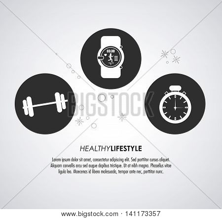 Healthy lifestyle concept represented by watch weight and chronometer icon. Colorfull and flat illustration.