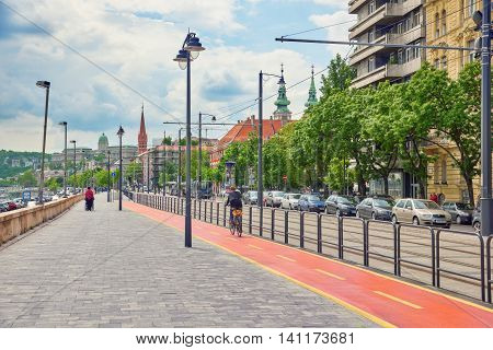 Budapest, Hungary-may 03, 2016: Beautiful Landscape  Urban View Of The Budapest, Street, Live Aparta