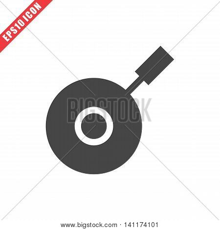 Vector illustration of pan icon on white background. Simple solid black kitchenware image