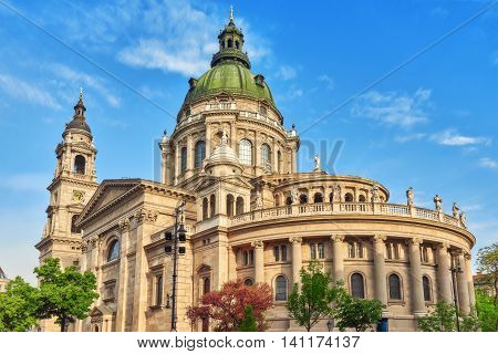 St.stephen Basilica In Budapest At Daytime. Side View. Hungary