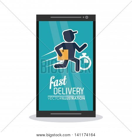 Fast Delivery and Shipping concept represented by deliver man inside smartphone icon. Colorfull and flat illustration.