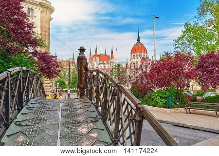 Budapest, Hungary -may 04, 2016: Statue On Iron Bridge - Monument To Imre Nagy (remembrance Day), On