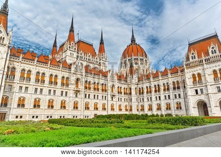 Hungarian Parliament Main Entrance. Patio with green grass .Hungary.