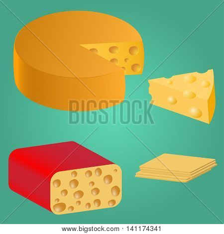 Set Pieces of cheese. Series food. Delicious foods