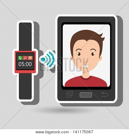 smartphone and watch device with a cartoon man in the screen with media icon over green background